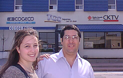 Jacinthe Bédard and Jean Hamel from AEQSA, in front of Cogeco Studios in Alma.